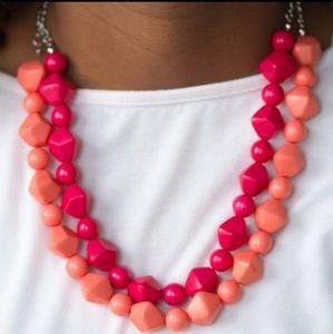 Beachy Orange & Pink Bead Necklace